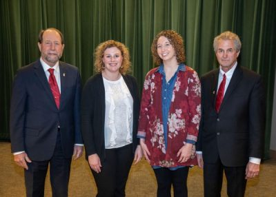 McLean County Farm Bureau members Tori Streitmatter and Kristen Kubsch developed leadership skills and learned about ag issues in the Illinois Farm Bureau Agricultural Leaders of Tomorrow (ALOT) program. Pictured (from left): Steve Stallman, IAA District 16 Director; Streitmatter; Kubsch; and Randy Poskin, IAA District 6 Director.